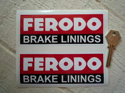 """Ferodo 'Brake Linings' Style 8 Oblong Stickers. 5.5"""" Pair."""