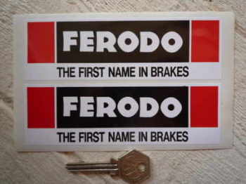 "Ferodo 'The First Name In Brakes' Oblong Stickers. 6"" Pair."
