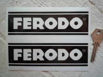 "Ferodo Black & Clear Oblong Stickers. 6"" Pair."