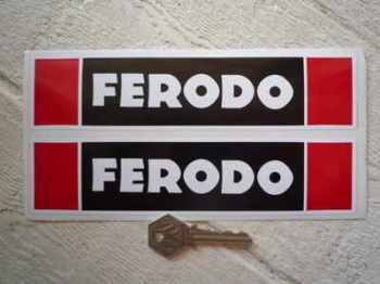 "Ferodo Later Style. Black & Red Oblong Stickers. 8"" Pair."