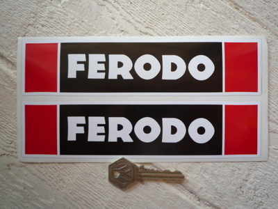 """Ferodo Later Style. Black & Red Oblong Stickers. 8"""" Pair."""