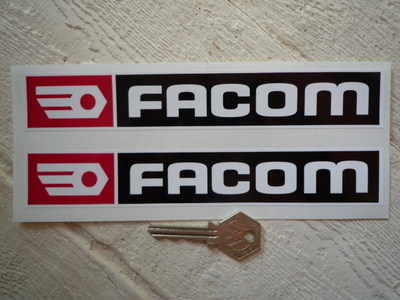 "Facom Black, Red & White Oblong Stickers. 5.5"", 8"" or 11"" Pair."