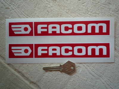 "Facom Red & White Oblong Stickers. 7.75"" Pair."
