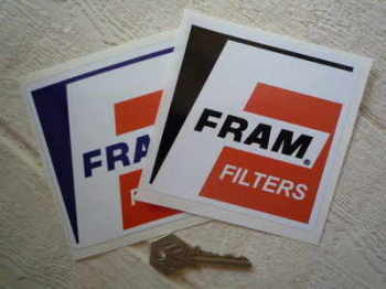 "Fram Filters 'F' Square Stickers. 4"" Pair."
