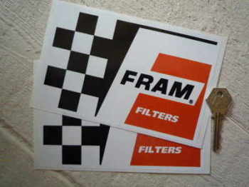 "Fram Filters Chequered Oblong Stickers. 6.5"" Pair."
