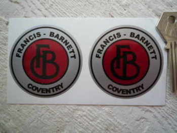 Francis-Barnett  Coventry Round Stickers. 60mm or 70mm Pair.