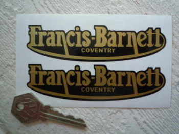 "Francis-Barnett Gold Script Stickers. 3"" or 4.5"" Pair."