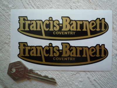 "Francis-Barnett Gold Script Stickers. 3"" or 4.5"" Pair."
