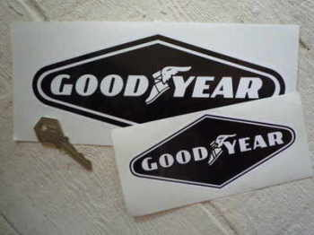 "Goodyear White on Black Diamond Stickers. 6"" or 9"" Pair."