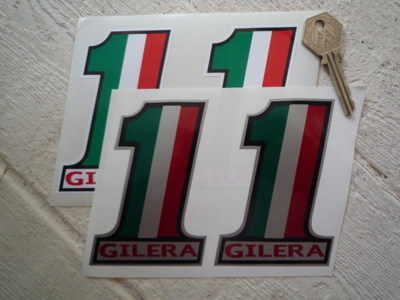 """Gilera. No.1 Stickers. 4"""" Pair."""
