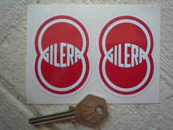 "Gilera. Red & White Shaped Stickers. 2"" Pair."