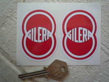 "Gilera. Red & White Shaped Stickers. 2"" Pair."