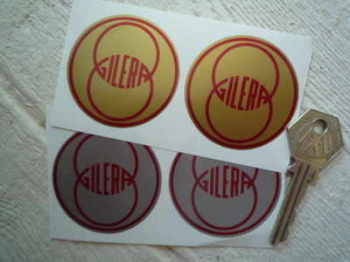"Gilera. Silver or Gold Round Stickers. 2"" Pair."