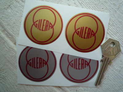 """Gilera. Silver or Gold Round Stickers. 2"""" Pair."""
