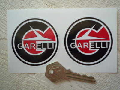 Garelli Round Handed Black, Red & White Stickers.  40mm, 55mm or 63mm Pair.