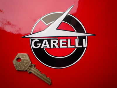 """Garelli Shaped Black, Red & White Stickers. 4"""" Pair."""