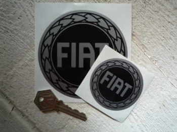 "Fiat Black & Silver Round Stickers. 2.5"" or 4"" Pair."