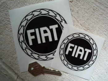 "Fiat Black & Clear Round Stickers. 3"" or 4"" Pair."