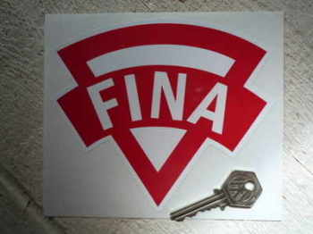 "Fina Old Style. Red & White. Shaped Petrol Can Sticker. 6""."