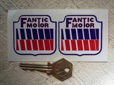 "Fantic Motor Shaped Stickers. 2"" Pair."