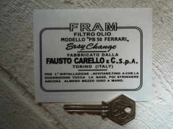 "Fram & Ferrari Carelo PB50 Oil Filter Sticker. 4""."