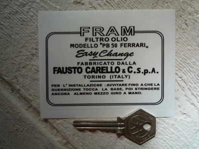 """Fram & Ferrari Carelo PB50 Oil Filter Sticker. 4""""."""