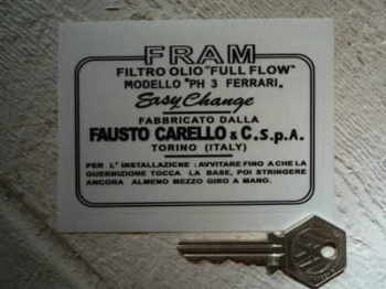 "Fram & Ferrari Carelo PH3 Oil Filter Sticker. 4""."