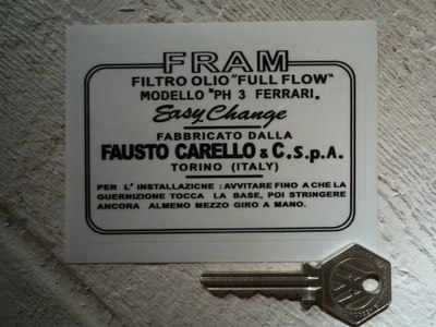 """Fram & Ferrari Carelo PH3 Oil Filter Sticker. 4""""."""