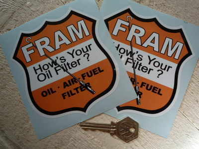 """Fram Oil Filters Shield Stickers. 4"""" Pair."""