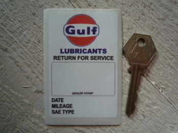 "Gulf 'Lubricants. Return For Service' Sticker. 3""."