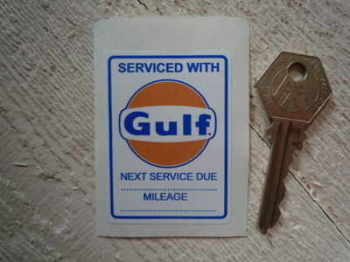 "Gulf 'Serviced With' Sticker. 2.5""."