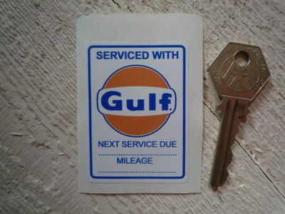"Gulf 'Serviced With' Sticker. 2.5""."