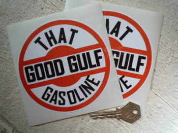 "Gulf 'That Good Gulf Gasoline' Stickers. 4.5"" Pair."