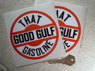 """Gulf 'That Good Gulf Gasoline' Stickers. 4.5"""" Pair."""
