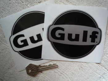"Gulf Black & Clear/Silver Stickers. 4"" Pair."