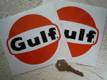 "Gulf Old Black Text Stickers. 5"" Pair."