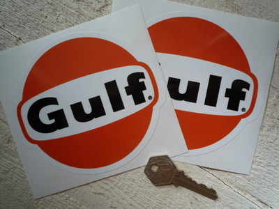 """Gulf Old Black Text Stickers. 5"""" Pair."""