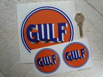 "Gulf Old Style Logo Stickers. 3"", 6"" or 8"" Pair."