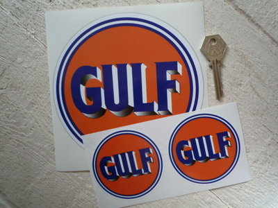 """Gulf Old Style Logo Stickers. 3"""", 6"""" or 8"""" Pair."""