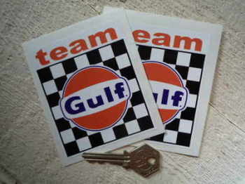 "Gulf Team Gulf Stickers. 3"" Pair."