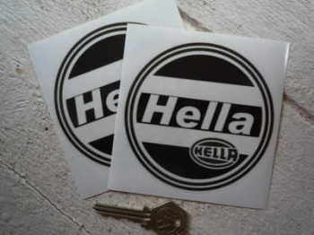 "Hella Black & Clear Round Stickers. 4"" or 5"" Pair."