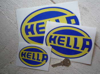"Hella Blue & Yellow Oval Stickers. 4"", 6"" or 8"" Pair."