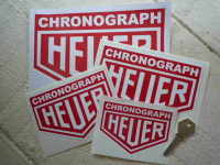 "Chronograph Heuer Stickers. 1"", 2"", 3"", 4"", 5"", 6"" or 8"" Pair."