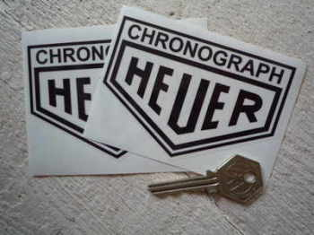 "Chronograph Heuer. Black & Clear/Silver Stickers. 4"" Pair."