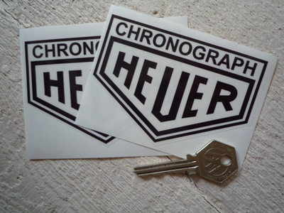 """Chronograph Heuer. Black & Clear/Silver Stickers. 4"""" Pair."""