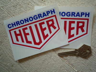 """Chronograph Heuer. Blue, Red & White Stickers. 4"""" Pair."""