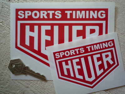 """Sports Timing Heuer Red & White Stickers. 4"""" or 6"""" Pair."""