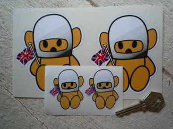 "Hesketh Teddy Bear Beige Stickers. 2"" or 4"" Pair."
