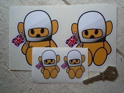 "Hesketh Teddy Bear Beige Stickers. 2"" or 4"" Pair."