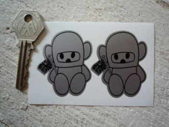 "Hesketh Teddy Bear Black & Silver Stickers. 2"" Pair."